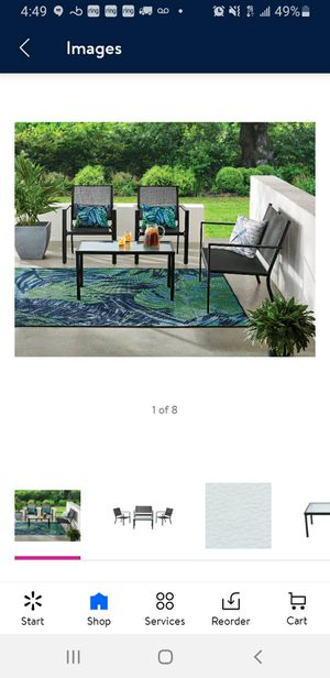 New 4 piece outdoor patio furniture with grey sling conversation set, black metal for Sale in Anaheim, CA