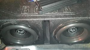 Audiopipe bd3 12s in q bomb box alpine 1100 mono block amp for Sale in Newport News, VA