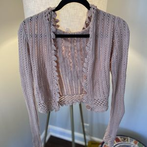 Soft Pink Knit Cropped Hooded Cardigan for Sale in Austell, GA