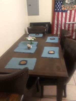 wood kitchen table and 4 leather chairs never used good buy for Sale in Virginia Beach, VA