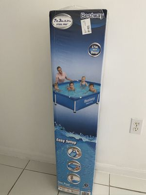 Bestway 7.25ft x 5ft x 17in Steel Pro Rectangular Above Ground Swimming Pool for Sale in Miami, FL