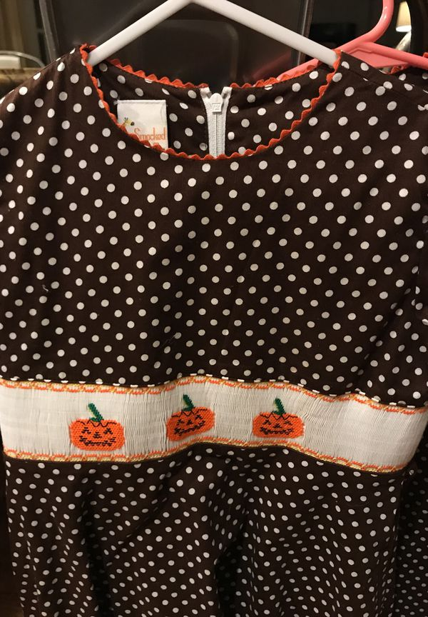 Smocked Giraffe Thanksgiving and Halloween dresses