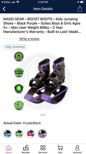 MADD GEAR – BOOST BOOTS – Kids Jumping Shoes – Black Purple for Sale in Portsmouth, VA