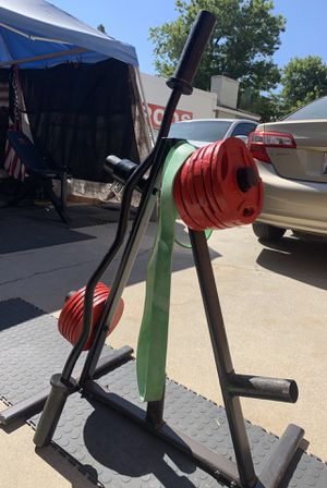 60 lbs Olympic, curl bar & clamps, band, weight tree for Sale in Riverside, CA