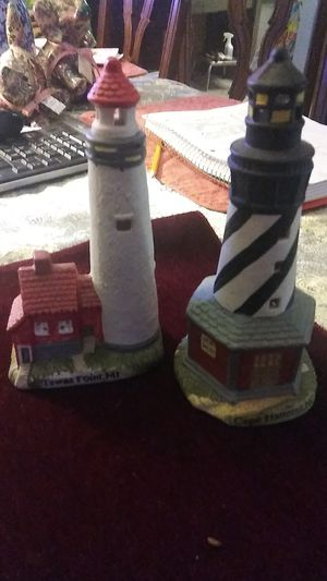 2 ceramic Lighthouse collectible statues for Sale in Port St. Lucie, FL