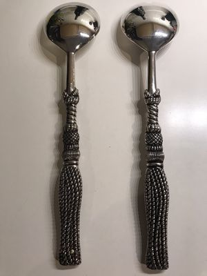 """SILEA SILVER PLATE FORK & SPOON SERVING SET BRAIDED CORD DETAIL ~ 11"""" for Sale in High Ridge, MO"""