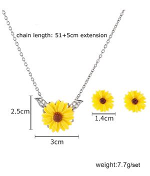 🌸 Sunshine Sunflower Necklace and Earring Set Silver/Gold Cabochon Glass Chain Necklace for Sale in Modesto, CA