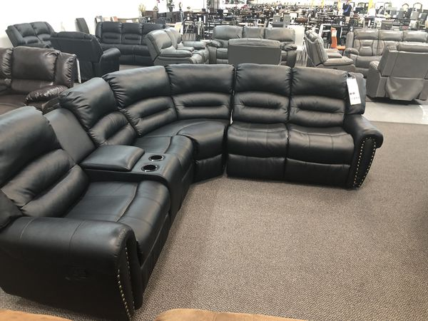 Only $50 Down! New Reclining Sectional Set. Black Leather. Free Delivery!