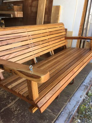 """RED OAK PORCH SWING 54"""" Wide,TEAK OIL FINISH with chain $350 for Sale in Perris, CA"""