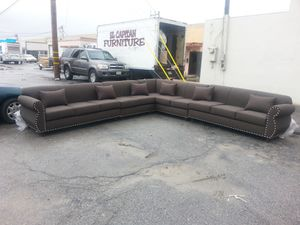 NEW 13X13FT ELITE BROWN FABRIC SECTIONAL COUCHES for Sale in Temecula, CA