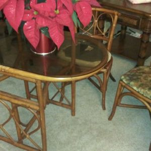 VINTAGE rattan table and chair for Sale in Chesapeake, VA