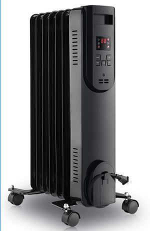 LIFEPLUS Oil Filled Radiator Heater 1500W - Portable Electric Oil Space Heater for Indoor Use - Super Quiet Remote Control 12H Timer LED Display, 3 H for Sale in Alhambra, CA