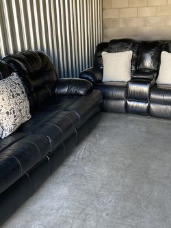 Black Leather Sofa Set for Sale in Tempe,  AZ
