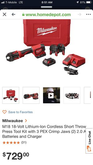 Milwaukee M18 Short Throw Press Tool With Viega PureFlow Jaws Brand new still in box for Sale in Columbus, OH