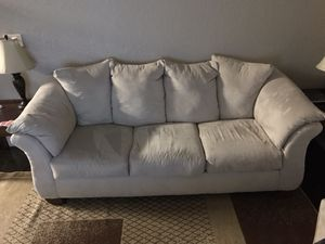 Off-white suede 3 seat sofa for Sale in Tampa, FL