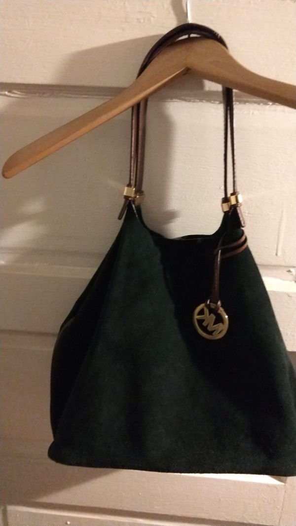 MK dark green suede with brown leather had bag