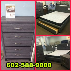 Queen size platform bed frame with Mattress, 5 Drawer Chest, and Nightstand included SET OF CHOICE for Sale in Glendale, AZ