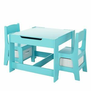 3Pcs Wooden Study Desk for Kids with Storage Drawer Blue for Sale in Los Angeles, CA