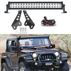 Jeep JK Wrangler Hood Mounted Bracket+22Inch 280W LED Light Bar Rubicon 4WD Off Roading for Sale in Fullerton,  CA