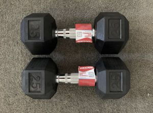 Brand New Rubber Hex 25 LB Dumbbell Set for Sale in Arlington, VA