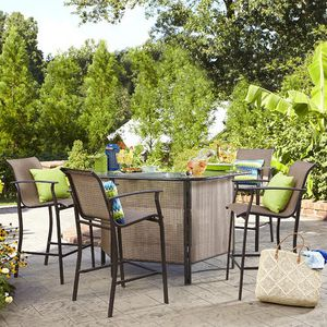 Brand New Bar Table Set with Umbrella Included Model Garden Oasis Harrison 5 pc. Outdoor Bar Set for Sale in Bell Gardens, CA