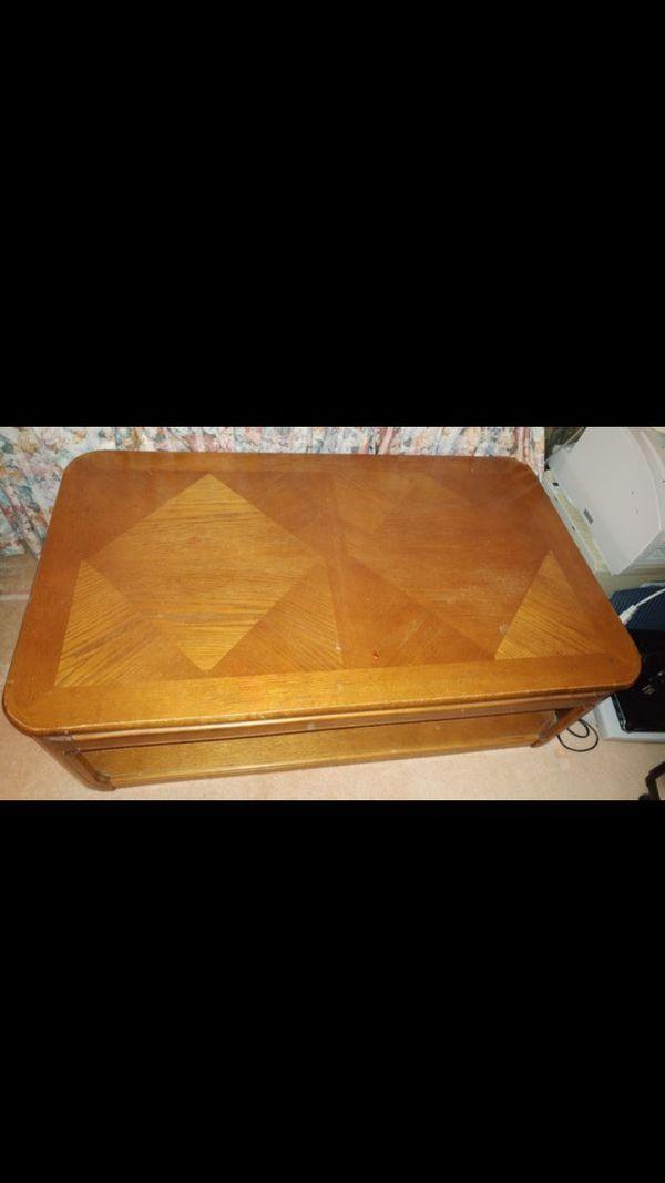 Solid oak coffee table pick up at hemet