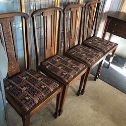 SOLID OAK VINTAGE CHAIRS BROWN 4 for Sale in Baldwin Park,  CA