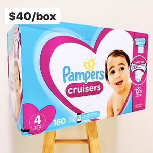Size 4 (22-37 lbs) Pampers Cruisers (160 baby diapers) *PROMO* BUY ANY 2 PAMPERS BRAND BIG BOXES, GET 1 FREE HUGGIES TUB 64ct for Sale in Anaheim, CA