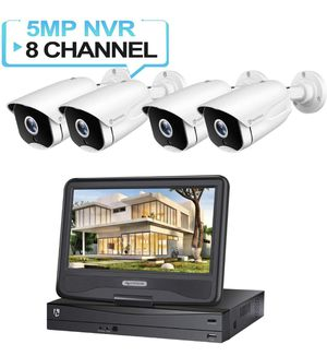 New eimVision HM541 5MP PoE Security Camera System with 10 inch LCD Monitor, 8CH NVR 4Pcs Outdoor/Indoor Night Vision, Waterproof, Motion Alert for Sale in Auburn, WA