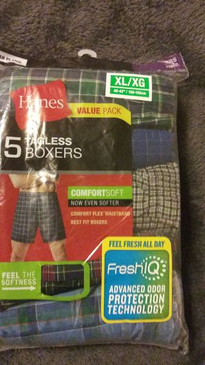 Mens XL boxers 4 packages w/5 boxers per pack with a total ol of 20 boxers retail for $17 per pack retail for $68. for Sale in Colonial Heights, VA