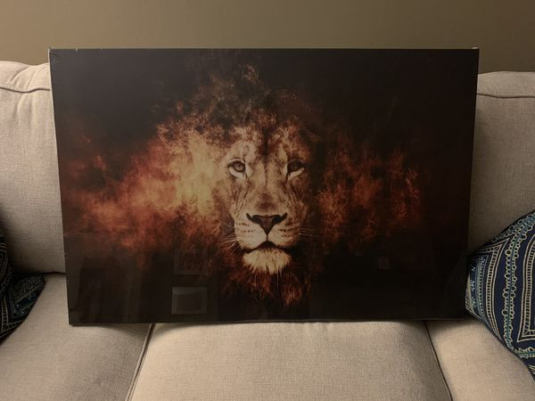 NEW Lion Head Portrait Wall Art Painting Print On Canvas Animal Picture Office Living Room Bedroom