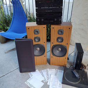 vintage Kenwood stereo system speakers CD turntable cassette amp works for Sale in Fontana, CA