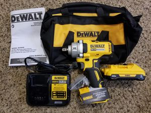 Dewalt 20-Volt MAX XR Lithium-Ion Cordless Brushless 1/2 in. Impact Wrench with Detent Pin Anvil Starter Kit for Sale in Modesto, CA