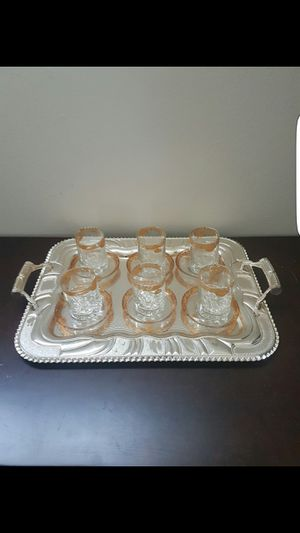 Glasses tea cups with saucer 12 pieces for Sale in El Cajon, CA