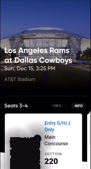COWBOYS VS RAMS TICKETS SECTION 220 ROW 12 SEATS 3,4 for Sale in Grapevine, TX