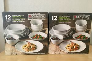 TWO SETS - Denmark 24 Piece Dinnerware Sets - White Plates Bowls for Sale in Glendale, AZ