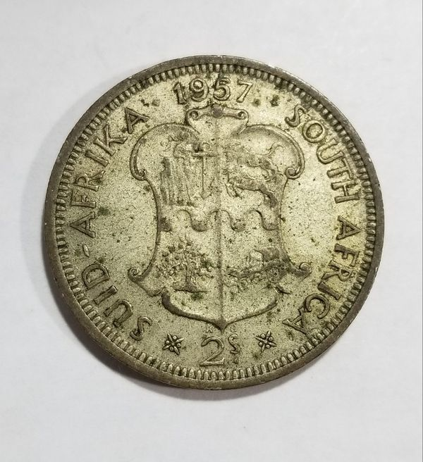 South Africa 1957 2 Shillings Silver Coin
