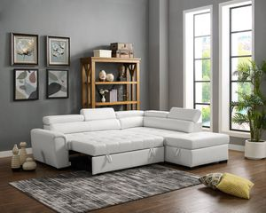 New white bonded leather sofa sectional with storage ottoman and pull our bed for Sale in Corona, CA