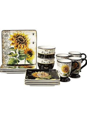 Brand new French Sunflower 16pc. Dinnerware Set, Service for 4, Multicolored for Sale in Columbus, OH