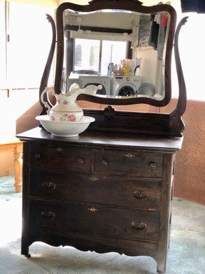 19th Century Antique Oak Dresser with Buffalo Mirror for Sale in Long Beach, CA