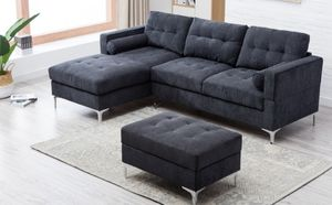 New Gray fabric Sectional w/ Ottoman for Sale in Puyallup, WA