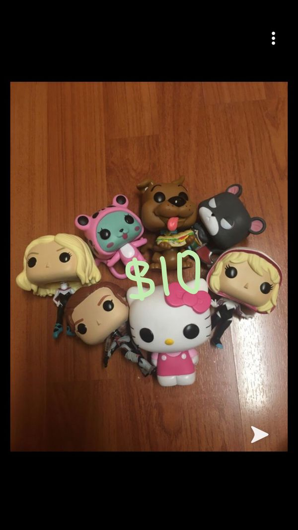 7 Funko Pops (opened) Hello Kitty, Marvel Black Widow, Spider Gwen, Fairy Tail, Scooby Doo