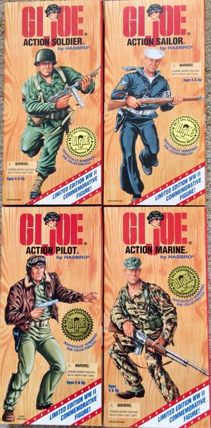 4 Mint 1995 G.I. Joe Action Figures WWII Anniversary Numbered Collectors Edition for Sale in Las Vegas, NV
