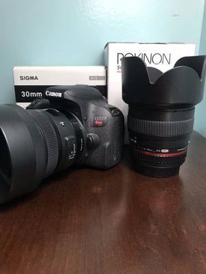 CANON T7I WITH SIGMA 30MM F1.4 ART AND ROKINON 50MM 1.4 LENS for Sale in Queens, NY