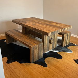 Reclaimed Wood Dining Table With Benches for Sale in Los Angeles, CA