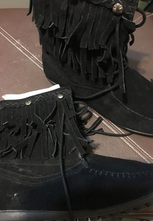 Bucco leather/suede fringed, black moccasin boots for Sale in Pasadena, CA