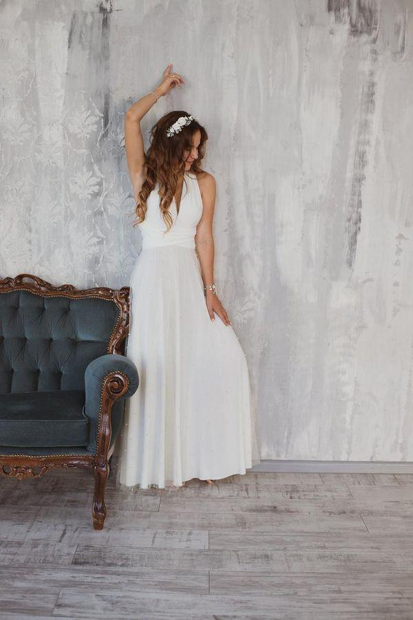 Bohemian bridal dress, White boho wedding dress