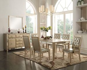 Antique Gold Finish 7 piece Dining Table Set Mirror Trim Insert for Sale in Rancho Cucamonga, CA
