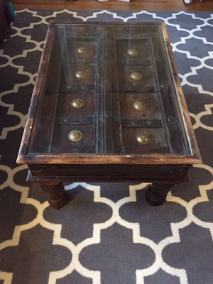 Antique Coffee Table with Glass Inlay for Sale in Seattle, WA