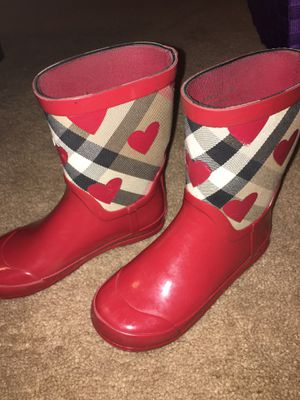 Red BURBERRY Rainboots (Girls) Size 31 for Sale in Atlanta, GA